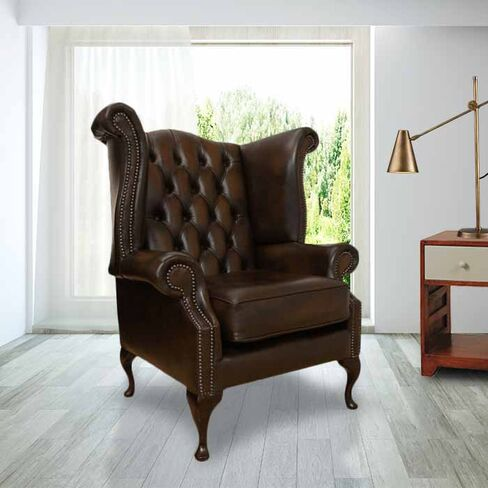 Chesterfield Queen Anne High Back Wing Chair UK Manufactured Antique Brown