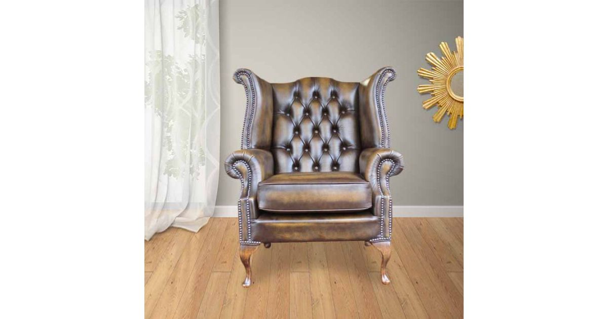 gold chesterfield queen anne high back chair. Black Bedroom Furniture Sets. Home Design Ideas