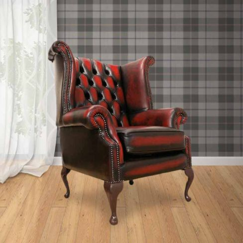 Antique Red Chesterfield Queen Anne Wing Chair | DesignerSofas4U