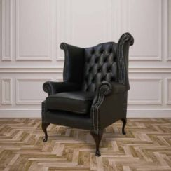 Chesterfield Queen Anne High Back Wing Chair UK Manufactured Black