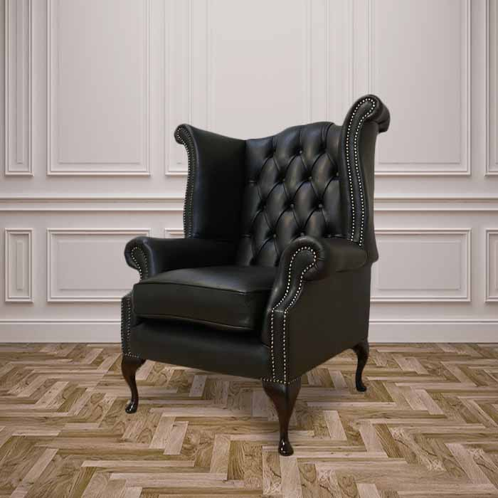 Black Chesterfield Queen Anne Wing Chair Designersofas4u