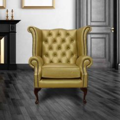 Chesterfield Queen Anne High Back Wing Chair UK Manufactured Gold