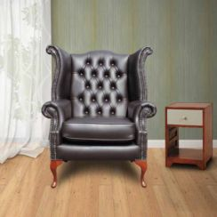 Havannah Brown Brown Chesterfield Queen Anne Wing chair | DesignerSofas4U