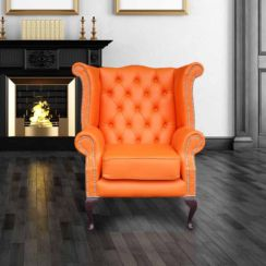 Chesterfield Queen Anne High Back Wing Chair UK Manufactured Orange