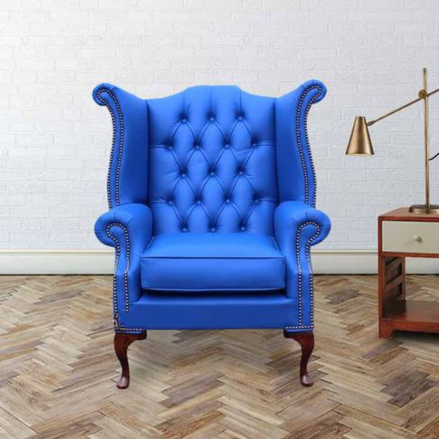 Chesterfield Queen Anne High Back Wing Chair UK Manufactured Ultramarine Blue