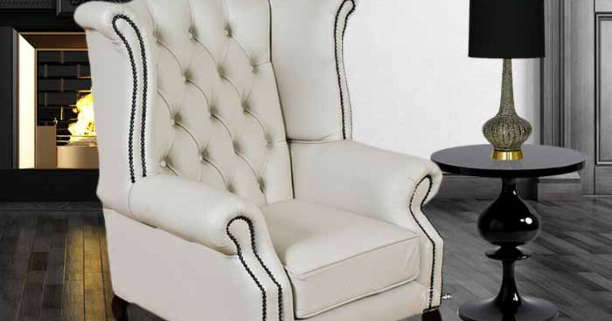 White Chesterfield Queen Anne Wing chair : DesignerSofas4U