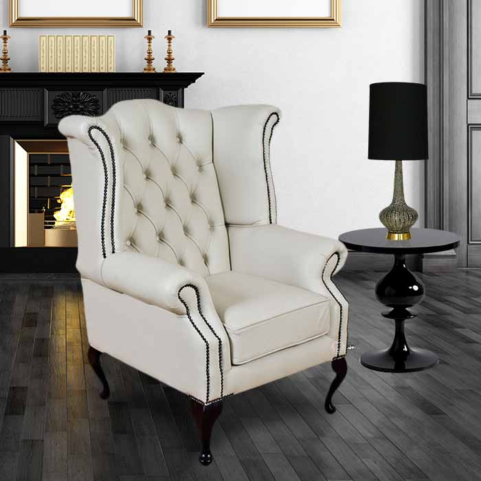 White Chesterfield Queen Anne Wing Chair Designersofas4u