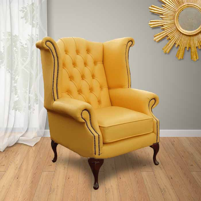 Yellow Chesterfield High Back Wing chair : DesignerSofas4U