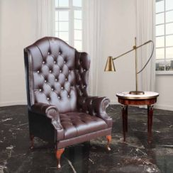 Chesterfield Scarface Chair Embroidered CRYSTALLIZED™ Elements Queen Anne High Back Wing Chair Antique Brown Leather