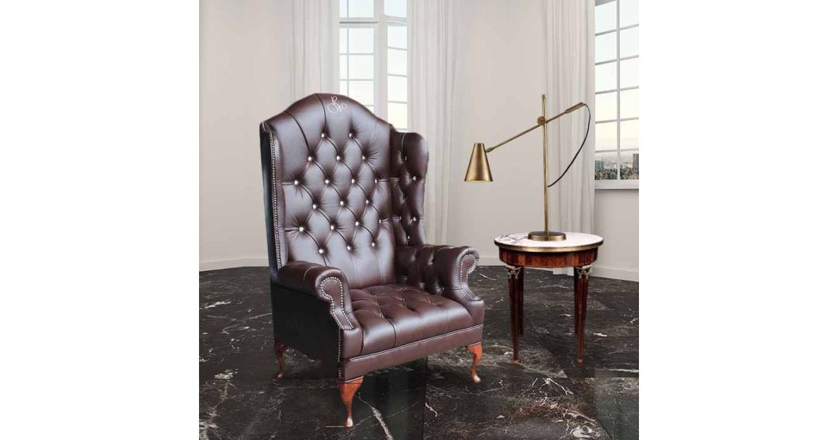 Chesterfield Embroidered High Back Wing Chair