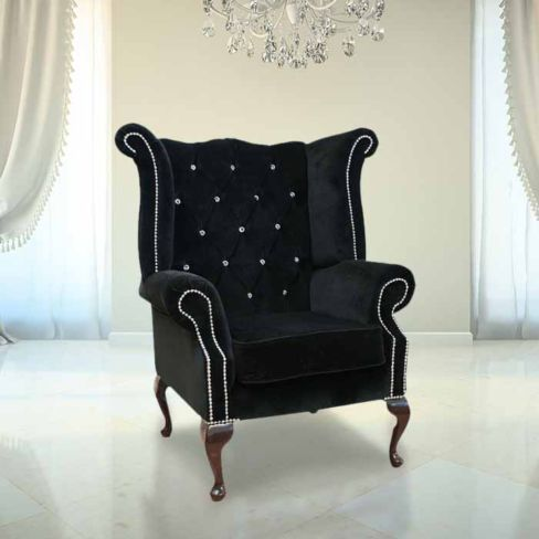 Chesterfield Crystal Queen Anne High Back Wing Chair Boutique Black Velvet