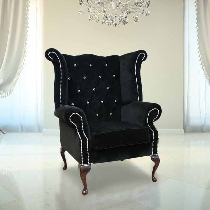 Black Velvet Chesterfield Swarovski Wing Chair
