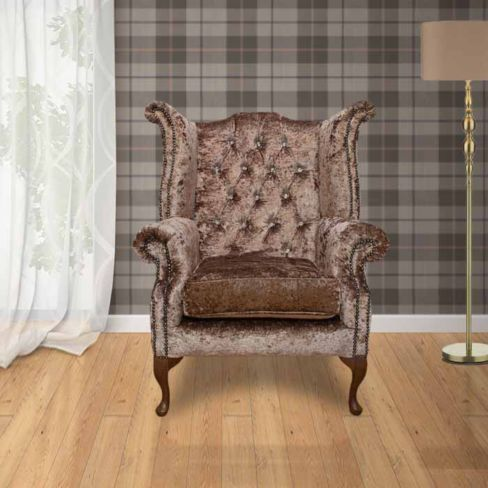 Chesterfield Crystal Queen Anne High Back Wing Chair Boutique Mink Velvet