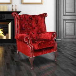 Chesterfield Crystal Queen Anne High Back Wing Chair Boutique Wine Velvet