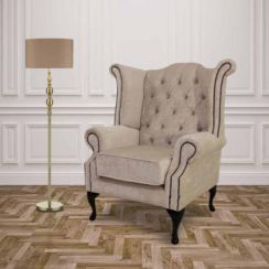 Chesterfield Crystal Queen Anne High Back Wing Chair Pastiche Chalk Velvet