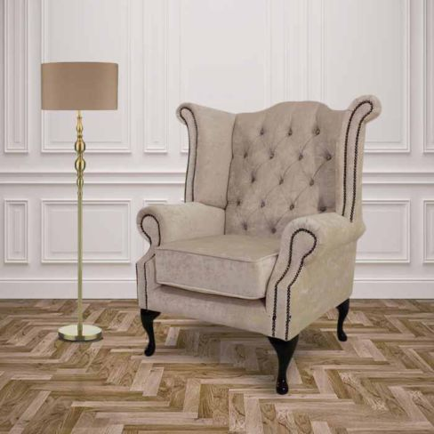 Ivory Velvet  Queen Anne with Crystals High Back Wing chair | DesignerSofas4U