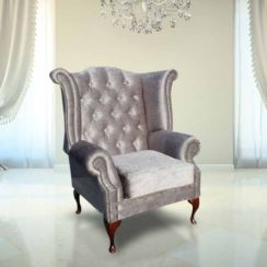 Chesterfield Crystal Queen Anne High Back Wing Chair Perla Illusions Grey Velvet