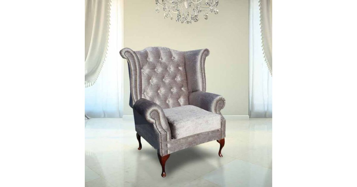 Grey Velvet Chesterfield Crystal Wing Chair Designersofas4u