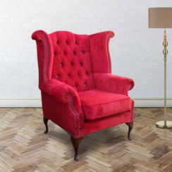 Chesterfield Crystal Queen Anne High Back Wing Chair Post Box Red