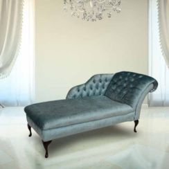 Chesterfield Velvet Chaise Lounge Day Bed Modena Lagoon Blue