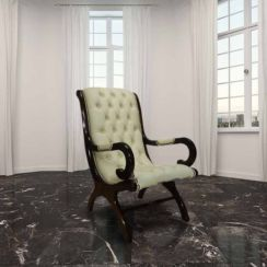 Chesterfield York Slipper Chair Cream Leather