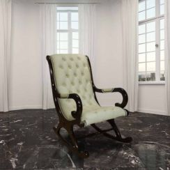 Chesterfield York Slipper Rocking Chair Cream Leather