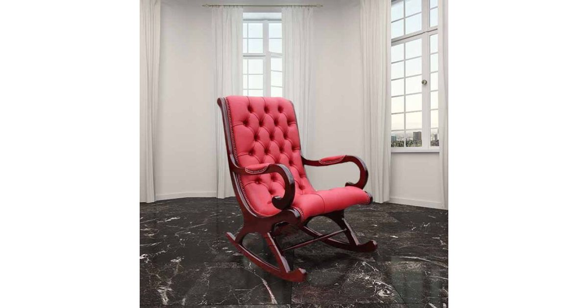 red chesterfield york slipper rocking chair designersofas4u. Black Bedroom Furniture Sets. Home Design Ideas