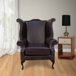 Saxon Chesterfield Queen Anne High Back Wing Chair Old English Red Brown