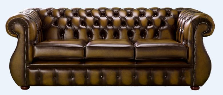 Chesterfield Kimberley Antique Gold Leather 3 Seater Sofa Offer