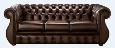 Chesterfield Kimberley Antique Brown Leather 3 Seater Sofa Offer
