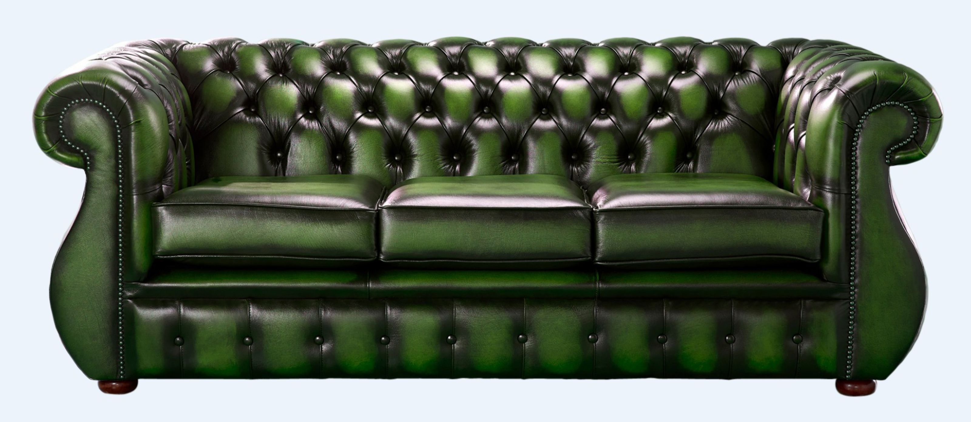 Chesterfield Kimberley Antique Green Leather 3 Seater Sofa Offer