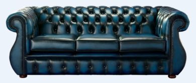 Chesterfield Kimberley Antique Blue Leather 3 Seater Sofa Offer