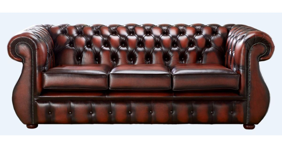 Chesterfield Kimberley Antique Light Rust Leather 3 Seater