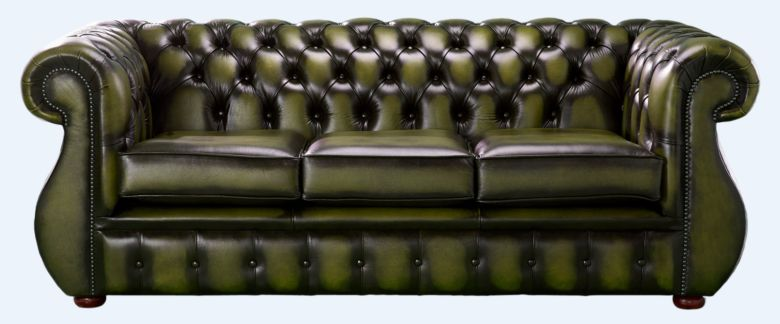 Chesterfield Kimberley Antique Olive Green Leather 3 Seater Sofa Offer