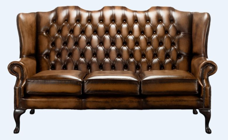 Chesterfield High Back Mallory 3 Seater Sofa Antique Autumn Tan Leather