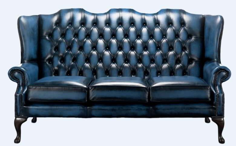 Chesterfield High Back Mallory 3 Seater Sofa Antique Blue Leather