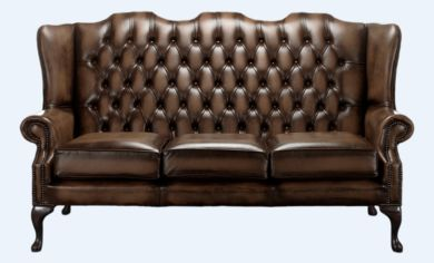 Chesterfield High Back Mallory 3 Seater Sofa Antique Brown Leather