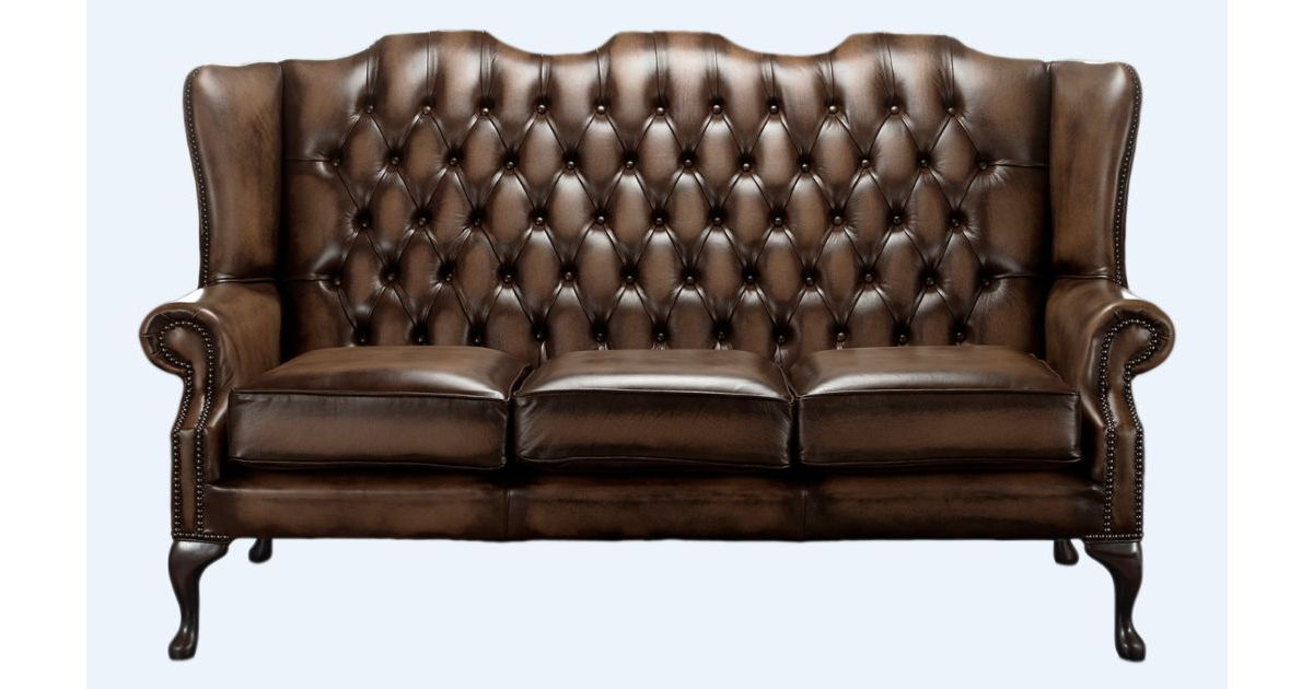 Chesterfield High Back Mallory 3 Seater Sofa Antique Brown