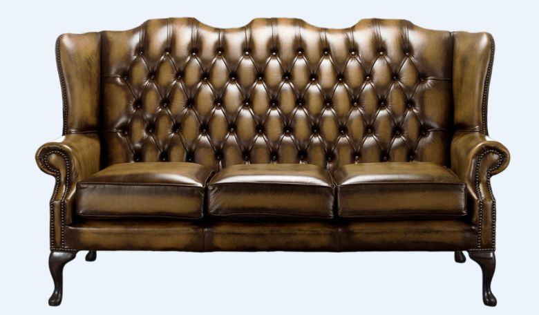 Gold Chesterfield 3 Seater High Back chair | DesignerSofas4U