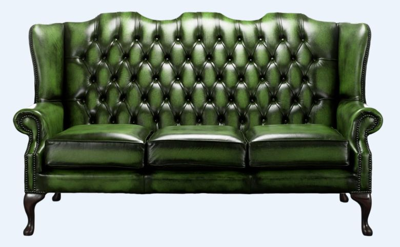 Chesterfield High Back Mallory 3 Seater Sofa Antique Green Leather