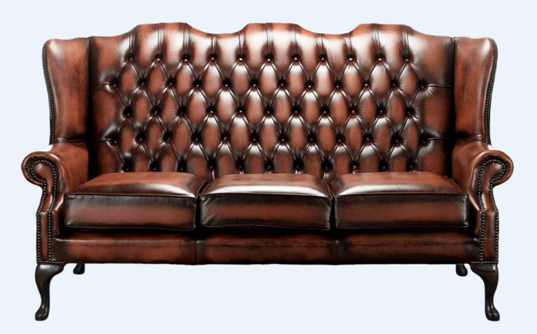 Chesterfield High Back Mallory 3 Seater Sofa Antique Light Rust Leather