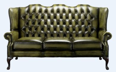 Chesterfield High Back Mallory 3 Seater Sofa Antique Olive Green Leather