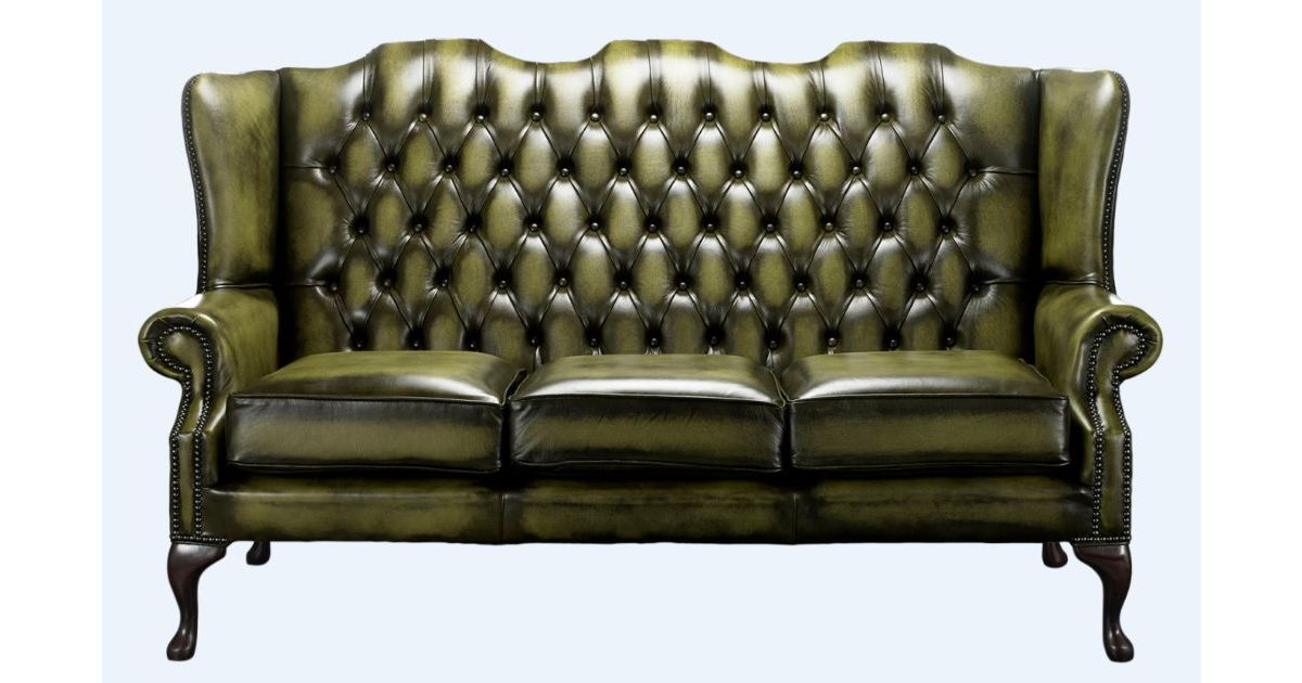 Olive Green Chesterfield 3 Seater High Back Chair