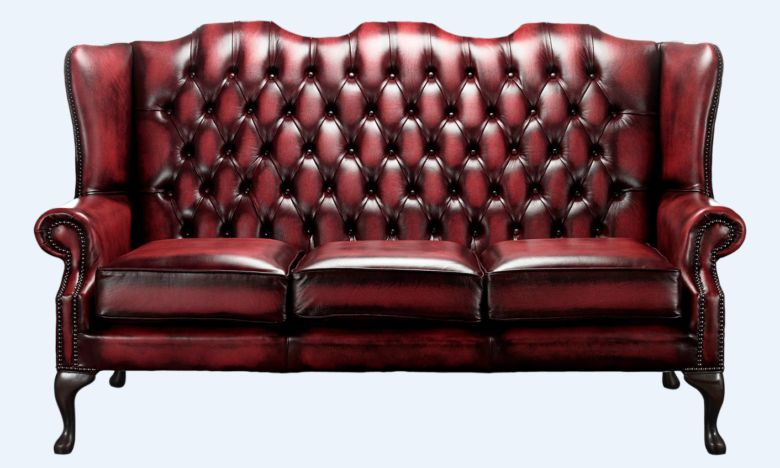 Chesterfield High Back Mallory 3 Seater Sofa Antique Oxblood Leather