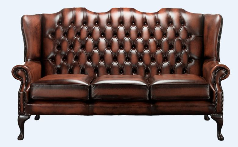 Chesterfield High Back Mallory 3 Seater Sofa Antique Rust Leather
