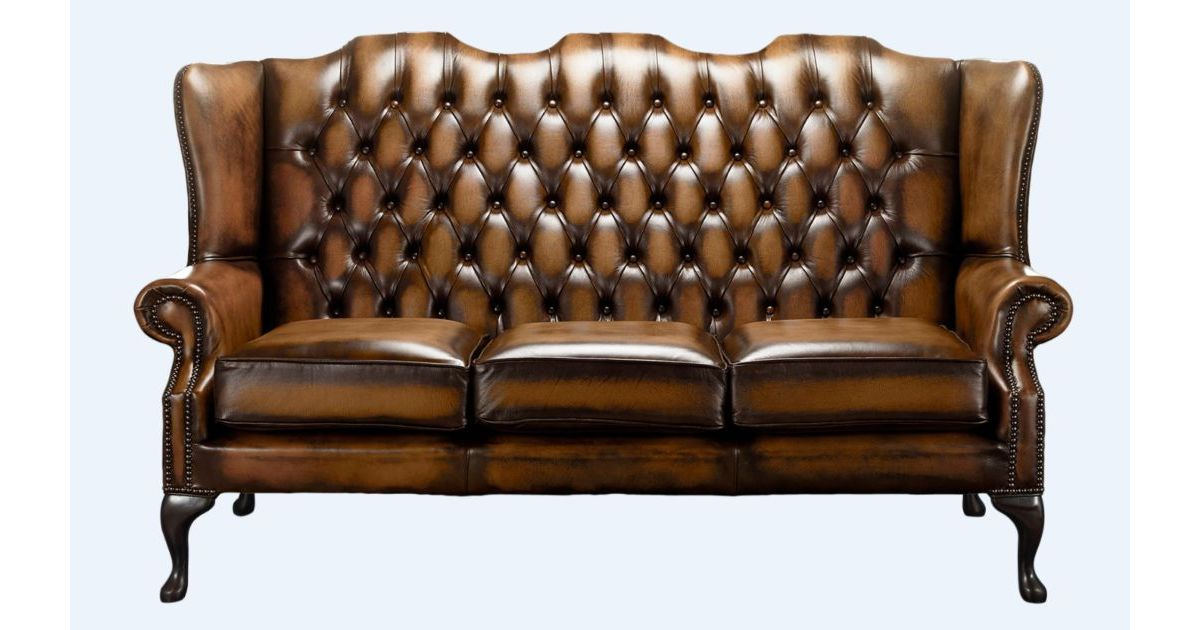 Tan Office Chesterfield 3 Seater High Back Chair