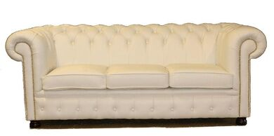 Chesterfield 3 Seater Sofa Bed Premium Range Ivory Leather