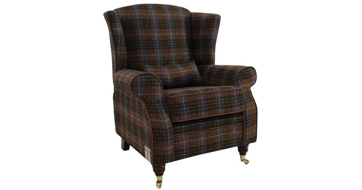 Arnold Harris Tweed Wool Wing Chair Fireside High Back