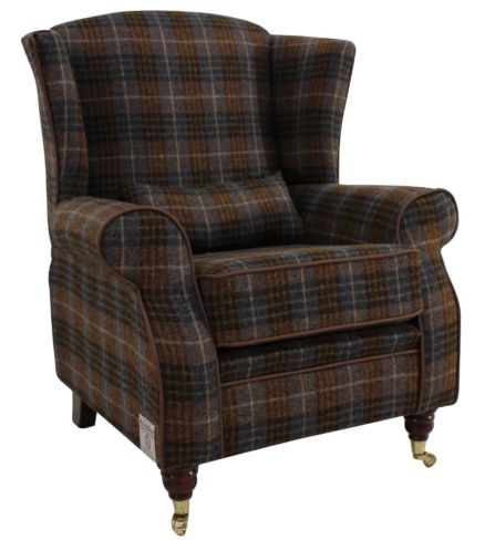 Arnold Harris Tweed Wool Wing Chair Fireside High Back Armchair Bowland Check Heather