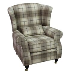 Arnold Wool Tweed Wing Chair Fireside High Back Armchair Wool Plaid Devon Fudge Check Fabric